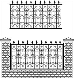 Iron fence with bricks vector