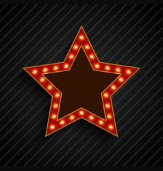lighting bulb banner star sign on the on black vector image