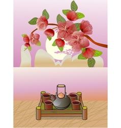 Sakura Tea ceremony Menu Coffee vector image vector image