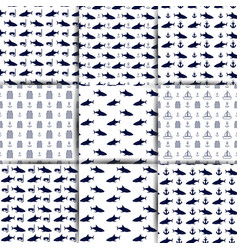 Set of nautical seamless backgrounds vector