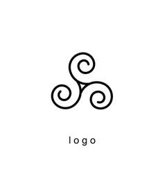 triple spiral logo template vector image vector image