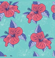 tropical flowers hibiscus exotic seamless vector image
