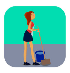 Cleaning woman with mop and bucket vector