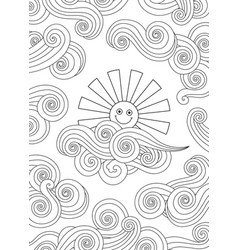 contour image of smiling sun and clouds doodle vector image