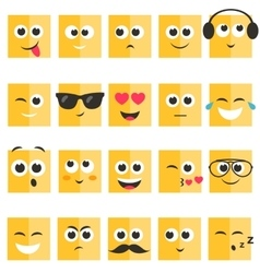 Emotional square yellow faces set vector image