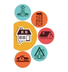 Houses logo design in colorful bubbles vector