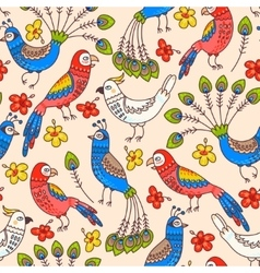 Seamless parrots and peacocks vector image