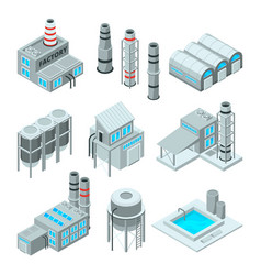 set of industrial or factory buildings isometric vector image