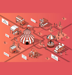 3d isometric food courts festival vector