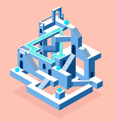 Abstract construction with secrets labyrinth with vector