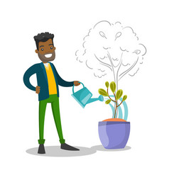 african businessman watering small growing tree vector image