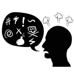Angry person head with speech bubble vector