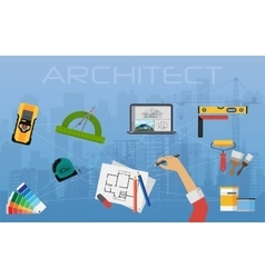 Architect construction planning and creating vector image