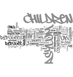 Asylum seeker and refugee children text word vector