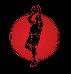 Basketball player action cartoon graphic vector