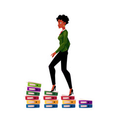 black african american businesswoman climbing up vector image