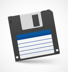 Black floppy diskette on white background vector image