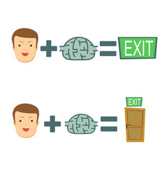 Brains help to find a way out stock flat vector