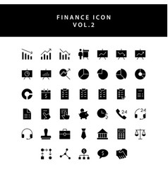Business and finance icon glyph style set vol 2 vector