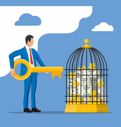 Businessman and cage with money vector