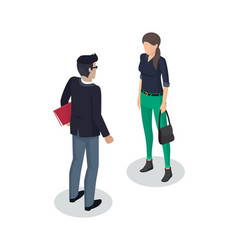 Businessman and woman meeting vector