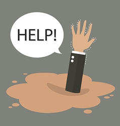 Businessman hand sinking in a puddle of quicksand vector image