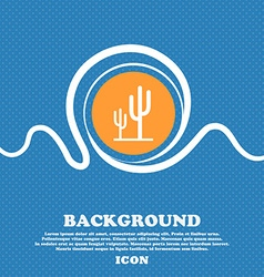 Cactus icon sign Blue and white abstract vector image