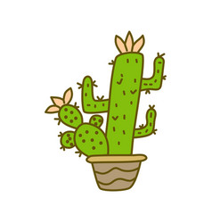 cactus pot design template vector image