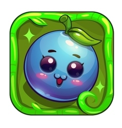 Cartoon app icon with funny blueberry character vector