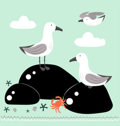 cartoon card with gulls vector image
