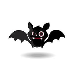 cartoon of cute friendly black bat character on vector image