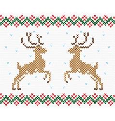 Christmas embroidery deer seamless texture vector