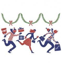 Christmas rush vector image