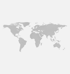 Clean gray wave world map isolated on white backgr vector