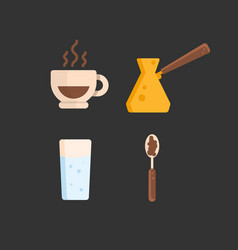 coffee drawing set of icons cup of coffee cezve vector image