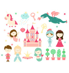 Collection of cute fairy-tale characters vector