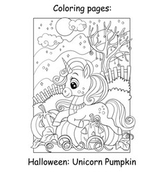 Coloring book page cute unicorn lying on pumpkin vector