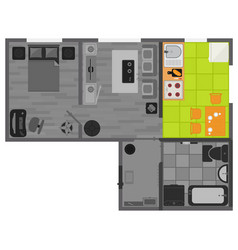 Concept interior flat design on top view vector
