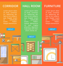 corridor furniture poster set in flat style vector image