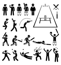 Cricket player actions poses stick figure vector