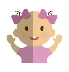 Cute baby girl icon vector