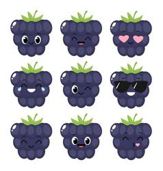 Cute cartoon blackberry emoji set vector