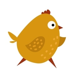 Cute chicken cartoon waving running yellow farm vector image