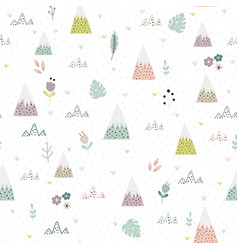 Cute mountains plants seamless pattern vector
