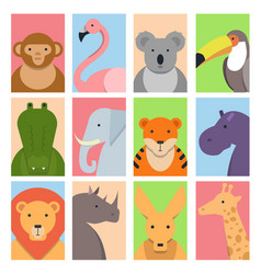 cute square avatars with wild animals vector image