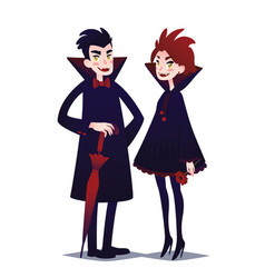 Cute vampire couple boy and girl vector