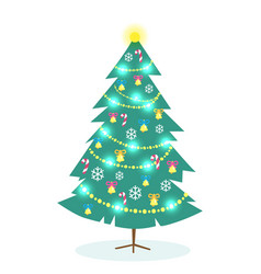 Decorated christmas tree on white background vector