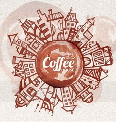decorative sketch of city Coffee design vector image