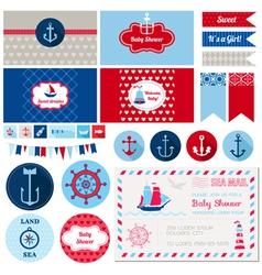 Design elements - bashower nautical theme vector