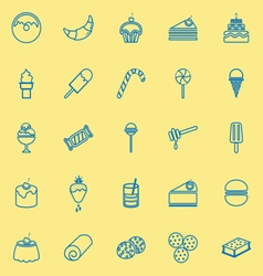 Dessert line icons on yellow background vector image